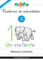 cuaderno de números con animales