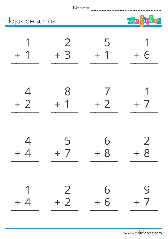 hoja de sumas de una cifra