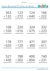 sumas de 3 cifras sin llevar