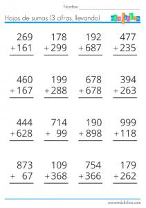sumas de 3 cifras llevando