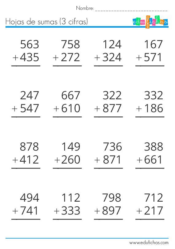 Sumas llevando. Hojas de sumas de 2 y 3 cifras llevando