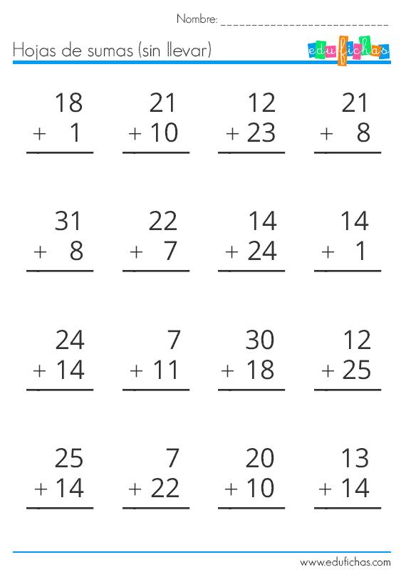 sumas de numeros de una y dos cifras