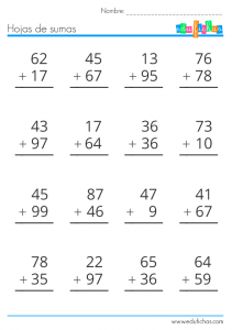hoja de sumas de dos cifras