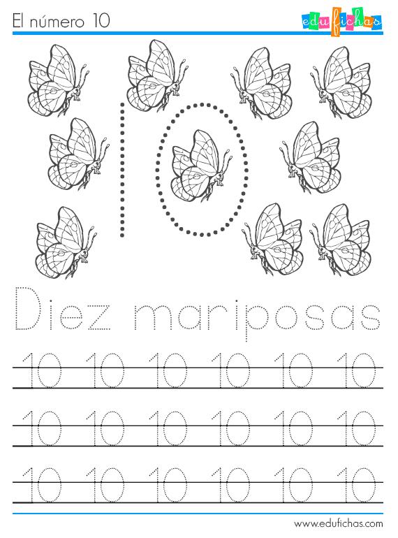 números y animales ficha 10 mariposas