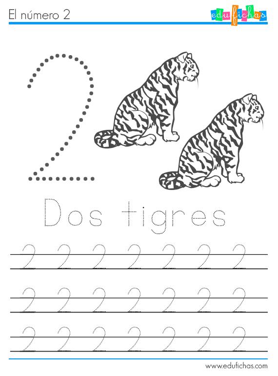 números y animales ficha 2 tigres