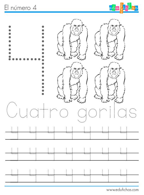 números y animales ficha 4 gorilas