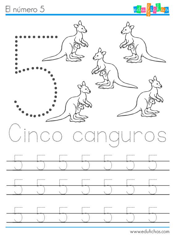 números y animales ficha 5 canguros