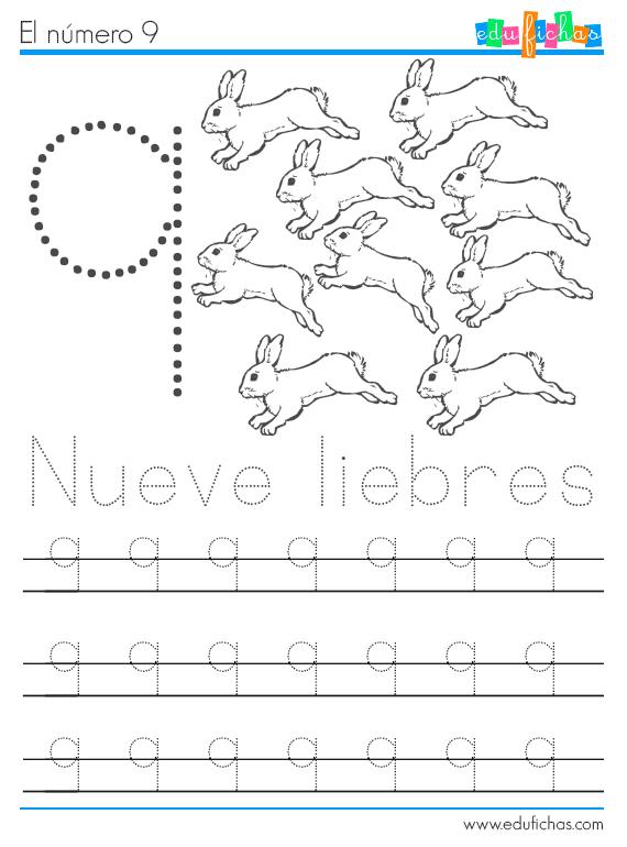 números y animales ficha 9 liebres
