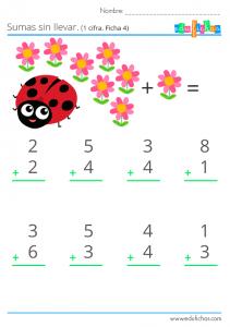 numeros de una cifra y sumas sin llevadas