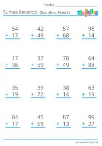 sumas llevando con números de dos cifras