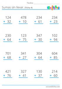 fichas de calculo sumas sin llevar