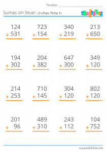 sumas sin llevar tres cifras