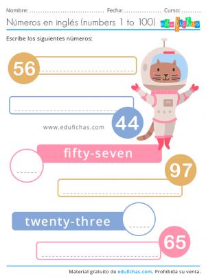ejercicios de números en inglés