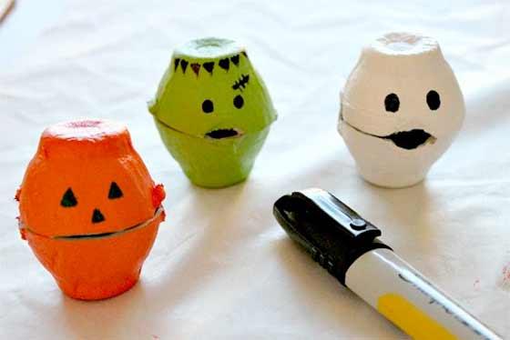 hueveras pintadas de halloween