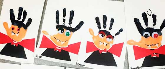 vampiros con pintura de manos