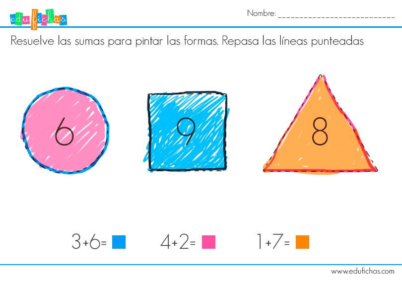 ficha para niños con formas y sumas