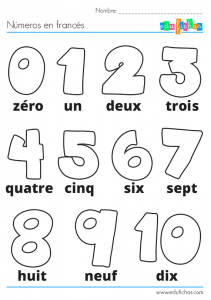 los números en francés para colorear