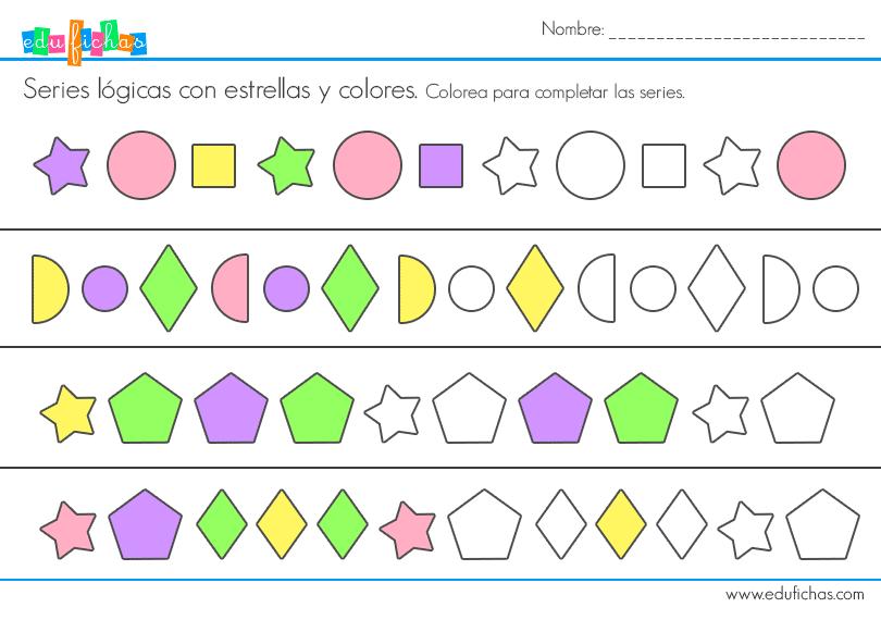 serie logica formas colorear