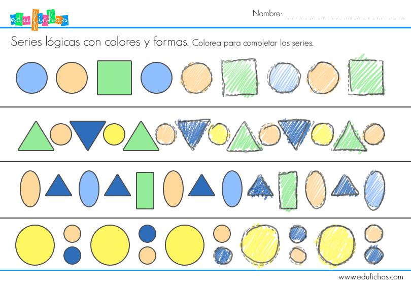 Series lógicas colores y formas. Material educativo gratis