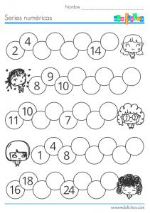 ejercicio series numericas para niños