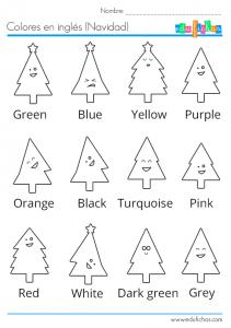 colores ingles navidad