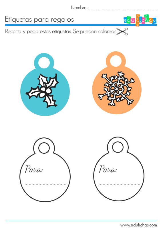 diseño etiquetas navidad recortables