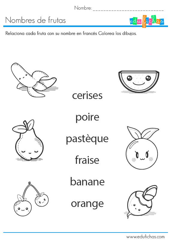 nombres de frutas en francés