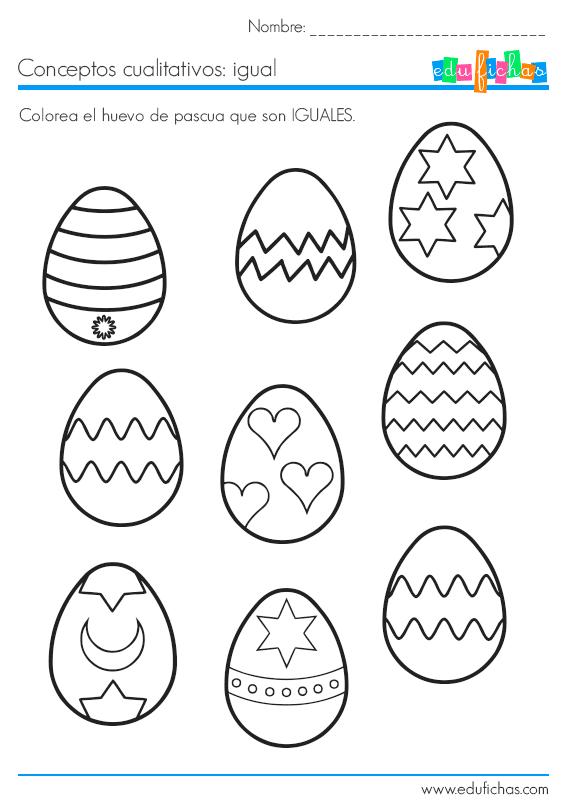 Colorea Los Iguales Ficha De Huevos De Pascua Ii