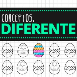 Colorea el diferente. Ficha de huevos de pascua
