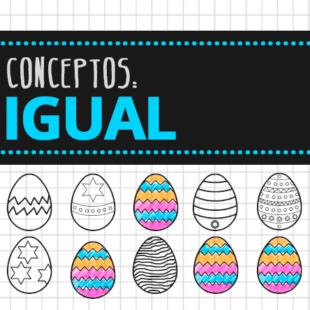 Colorea los iguales. Ficha de huevos de pascua II