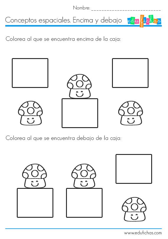 Conceptos encima y debajo fichas de actividades para ni os for Nociones basicas de oficina concepto