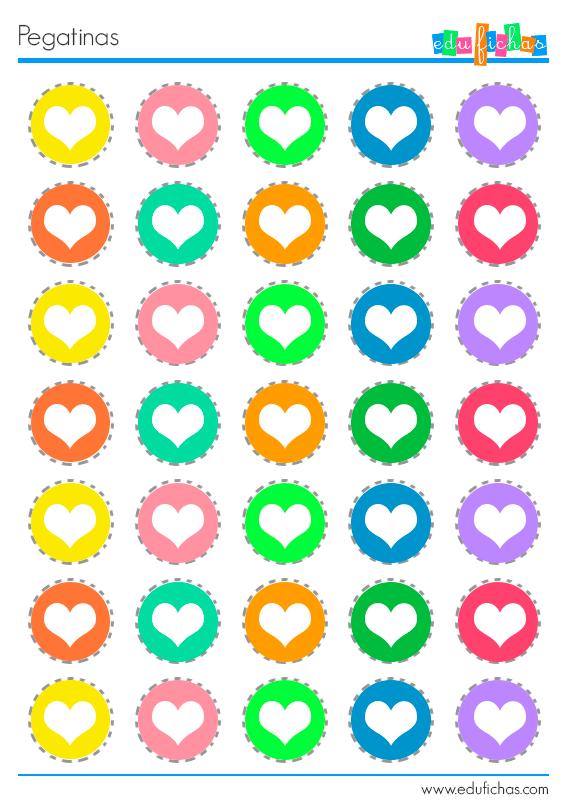 Corazones de colores para imprimir for Stickers de pared infantiles