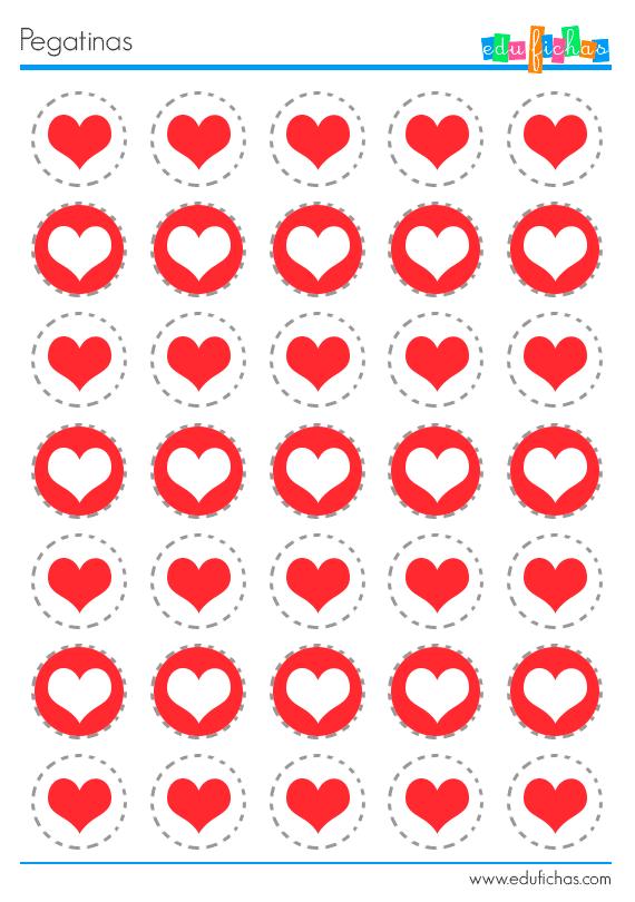 pegatinas corazones rojos