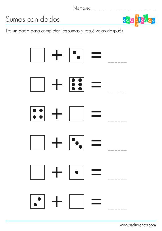 sumas con dados ficha 1
