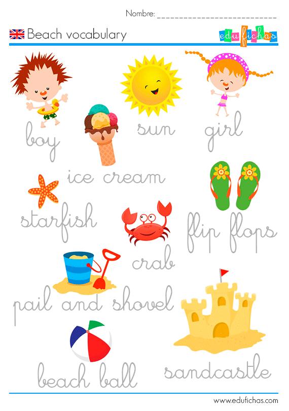 vocabulario ingles verano
