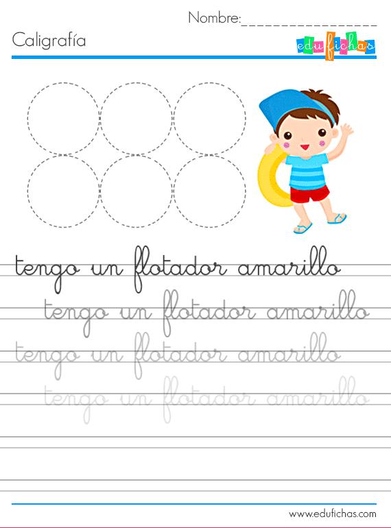 caligrafia de verano para niños