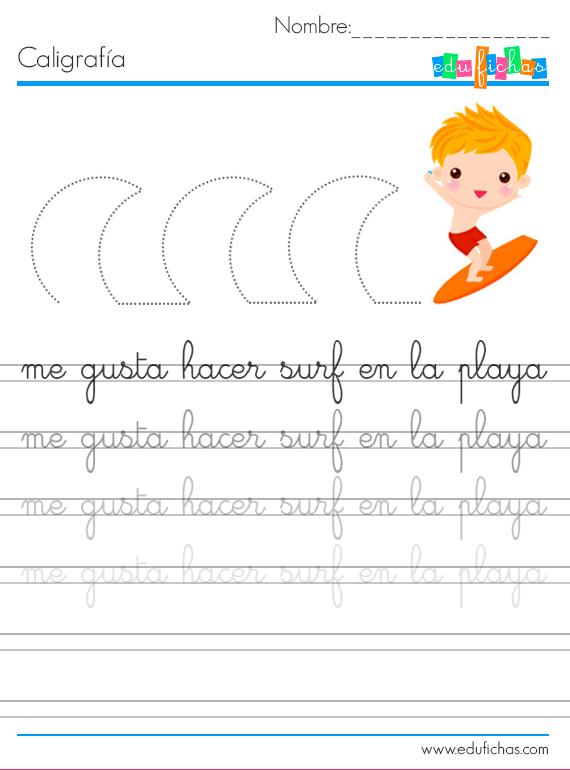 caligrafia vacaciones infantil