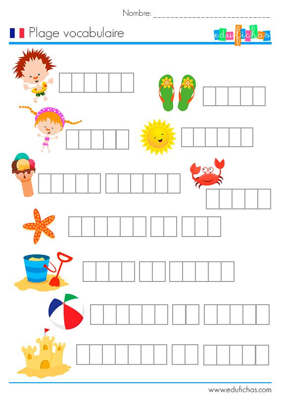 ejercicio vocabulario francés