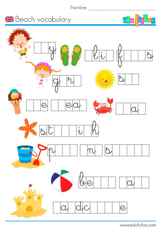 vocabulario ingles verano faltan letras