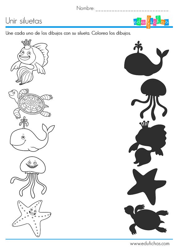 ejercicio de siluetas con dibujos para relacionar