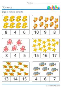 seleccion de fichas para aprender a contar