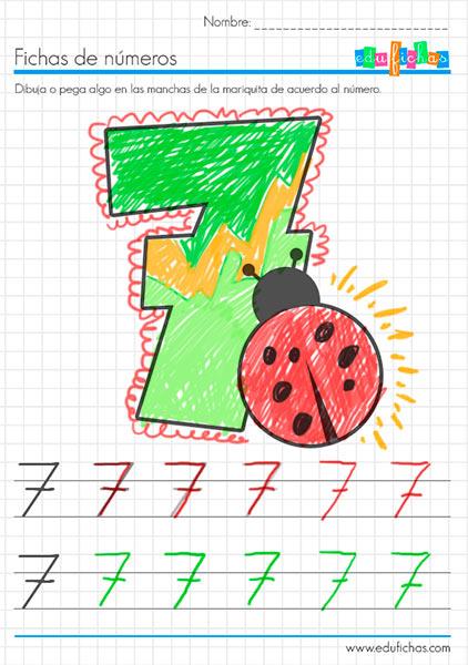 fichas coloreables de números para niños