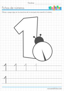 fichas coloreables de números uno