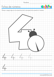 fichas coloreables de números cuatro