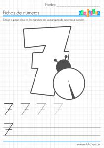 fichas coloreables de números siete