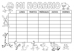 horario coloreable infantil