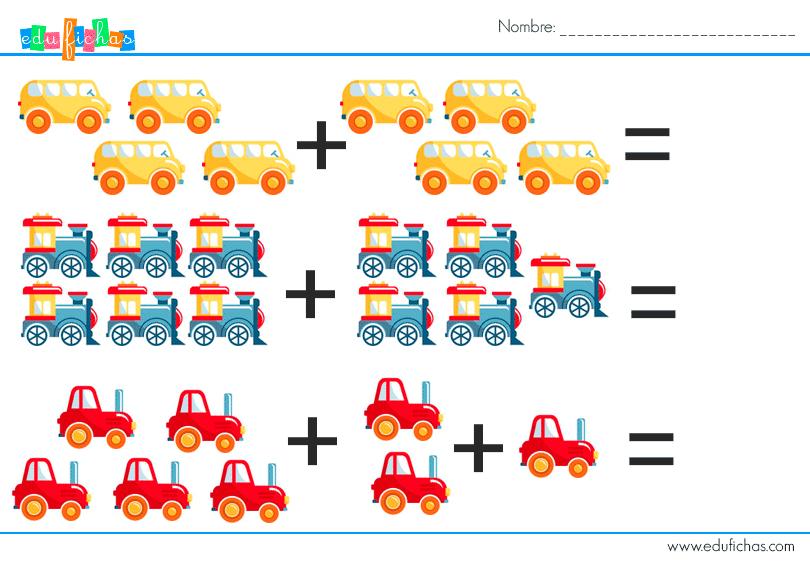 sumas con dibujos de coches