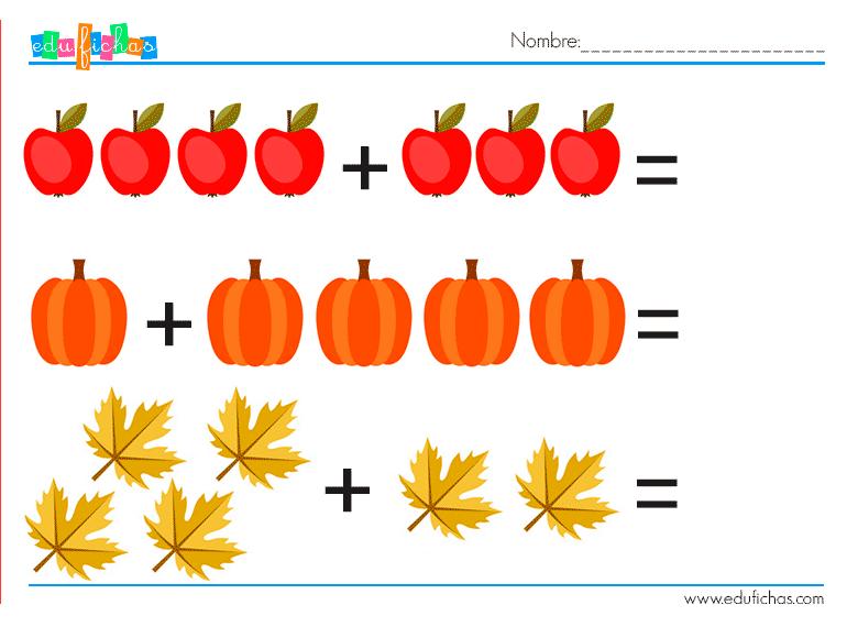 otoño sumas dibujos