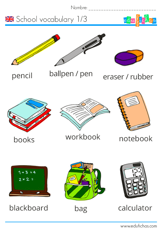 School vocabulary vocabulario escolar en ingl s para ni os for Ingles en la oficina