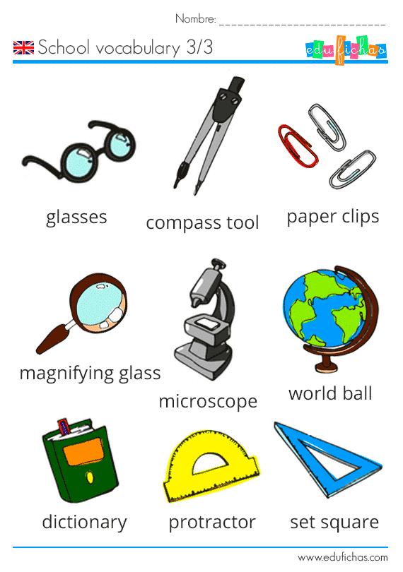vocabulario del colegio en ingles